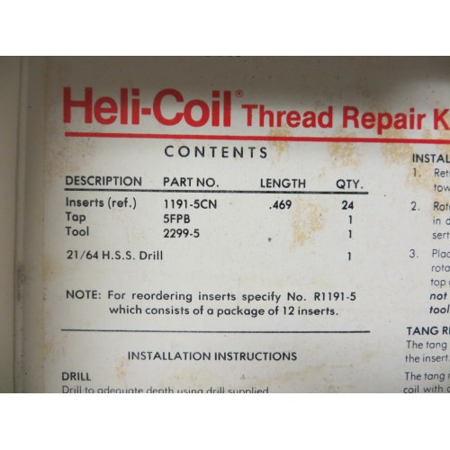 Helicoil 516 24 Fine 5402 5 Master Thread Repair Kit New